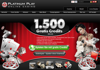 Platinum Play Casino Webseite